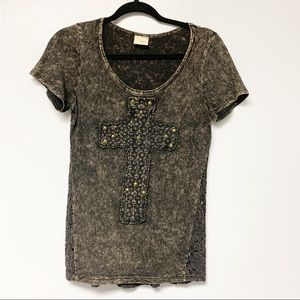 Day trip acid wash Lacey cross embellished t-shirt
